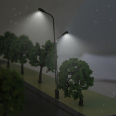 10 Model Railway Train Architecture Dual Lamp Post Street Lights LEDs HO OO