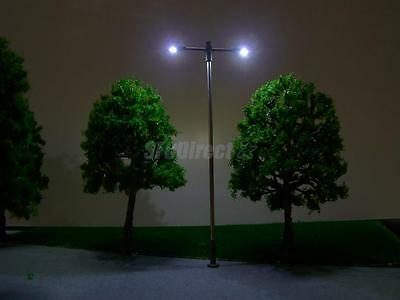 10 MODEL LED LIGHTS METAL LAMP POST TRAIN GARDEN PARK STREET SCENERY N Scale