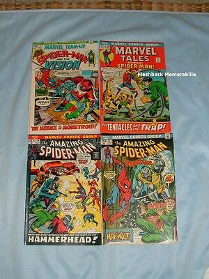 (4) MARVEL Comic Book Lot SPIDER-MAN 1972-73 1st MAN-WOLF Monstroid HAMMERHEAD