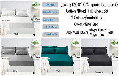 40cm or 50cm Deep Wall Luxury 400TC Bamboo Cotton Sheet Set Queen King Bed Size