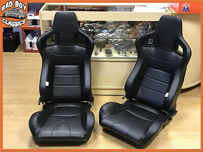PAIR of BB6 Reclining Tilting Bucket Sports Seats Black Universal Design