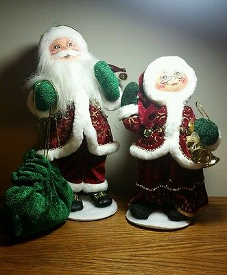 Annalee Mr. & Mrs. Gold Glitz Santa Christmas Oranament Nice Condition