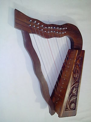 New Irish Harp 12 String Sheesham Wood/celtic Harp Rose Wood Free Carrying Case
