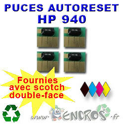 AUTORESET CHIP- Lot de 4 Puces Auto-Reset NOIR+COULEURS HP 940