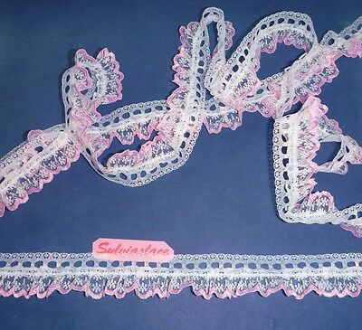 2 metres of White Lace with Coloured Edge Gathered onto Eyelet Lace 30 mm wide.