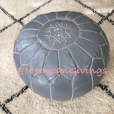 Moroccan Handcrafted 100% Leather Pouffe, Footstool, Ottoman,Grey