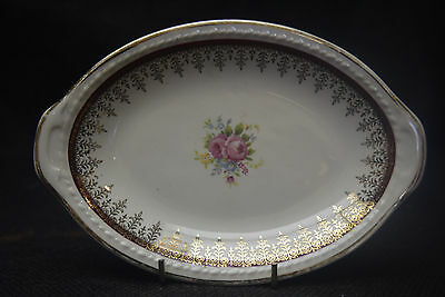VintageTaylor Smith Taylor Floral Gold Trim Oval Serving Plate-7 1/2 inches Long