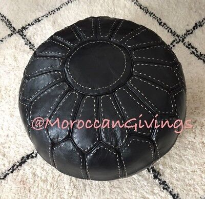 Moroccan Genuine Handcrafted 100% Leather Contemporary  Black Pouffe