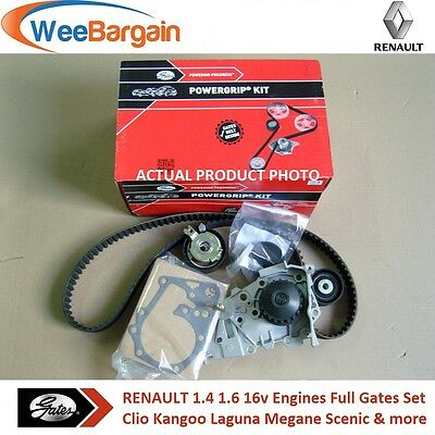 RENAULT Clio Megane MK2 3 1.4 1.6 16v GATES KP15671XS Timing Belt Kit Water Pump