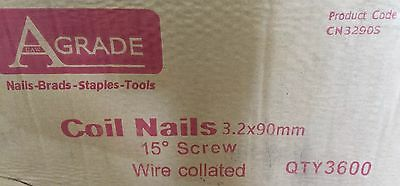 Coil Nails wire collated 15 degree screw 3.2 x 90mm, box of 3,600 A-Grade brand