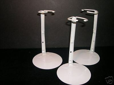 """3 - KAISER DOLL STANDS # 2501 FOR 12""""  to 20"""" DOLLS - WHITE"""
