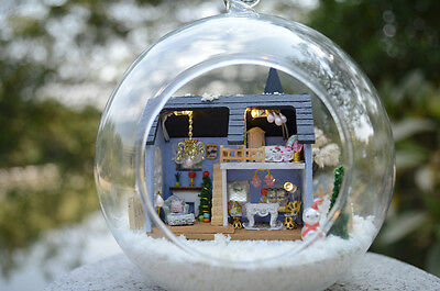 DIY Mini glass ball Wooden Dollhouse Miniature Kit with Voice control Angel home