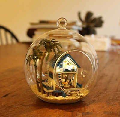 DIY Mini glass ball Wooden Dollhouse Miniature Kit with Voice control blue home