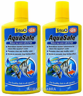 TETRA AQUASAFE TAP SAFE 2 x 500ml WATER CONDITIONER DECHLORINATOR FISH TANK