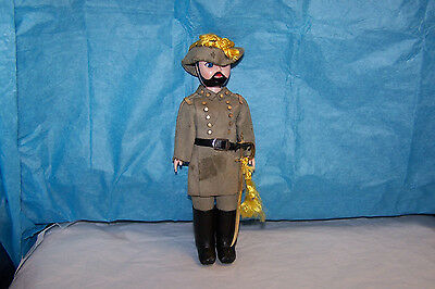 Vintage Civil War Confederate Doll With Leather Outfit and Saber