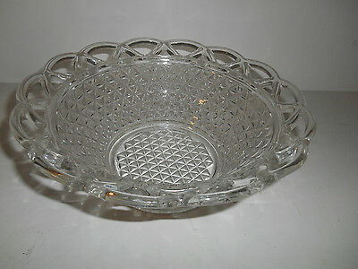"Lovely Crystal Lace Edge Pattern 10"" Large Round Bowl by Imperial"