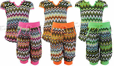 Girls Top & Cropped Harem Pants 2 Piece Set Kids Clothes Summer Ages 2-8 Years