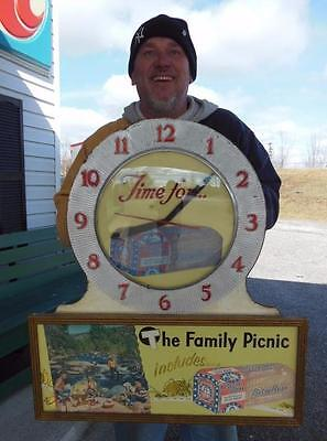Original 1950's Betsy Ross Bread Grocery General Store Clock Advertising Sign