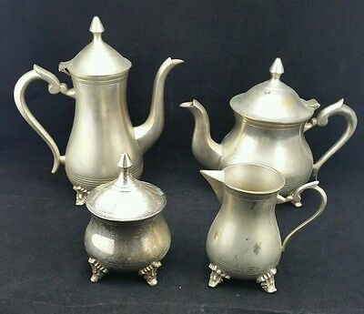 Vintage Silver Plated EPNS 4 piece Tea Set, Milk Jug, Coffe Pot, Sugar Bowl