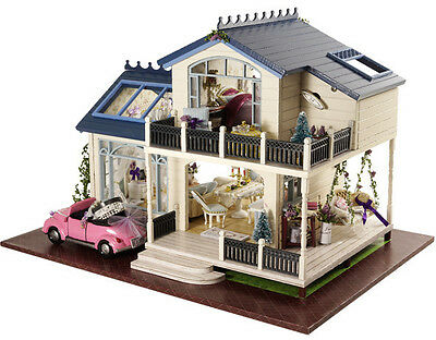 Kit Wood Dollhouse Miniature DIY Doll House with Cover Idea Gift New Provence