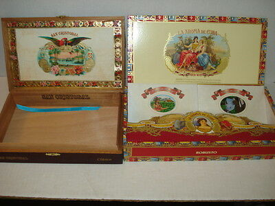 San Cristobal Clasico Empty Wooden Cigar Boxes with Metal Hinge & Clasp Set of 2
