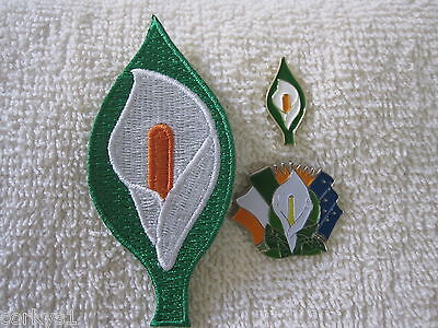 Irish Centenary Saoirse 1916-2016 Easter Rising Lily {3pc Set} Patch & Badges