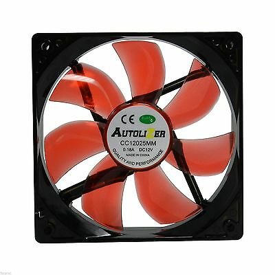 Autolizer 120mm LED Neon RED PC Case Cooling Fan Quiet Sleeve Bearing Technology