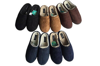 Mens Slippers Grosby Tobias Slipper Scuffs Size S-XL Woolly Brown Blue Black