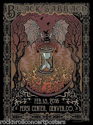 Black Sabbath Denver 2/15/16 Le Hand Numbered Print Concert Poster Mint Dubois
