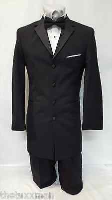36 R Mens Used Black 4 Button Checkers Tuxedo Package Complete Tux Prom Wedding