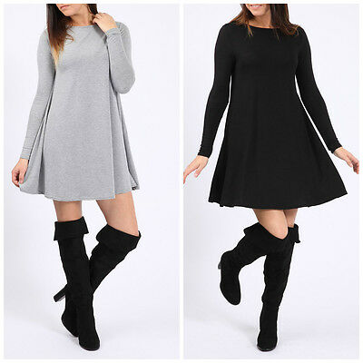 Womens Ladies Smart Casual Summer Party Long sleeved Skater Swing Dress MS1003