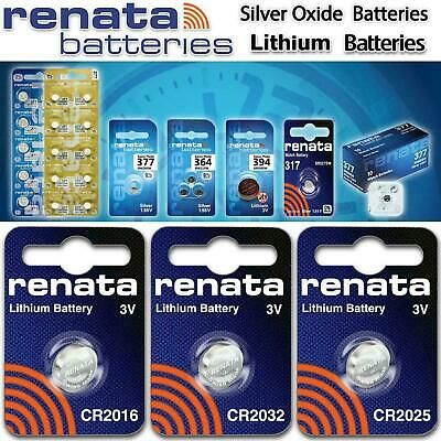 2 x Renata Watch Battery Swiss Made - All Sizes Silver Oxide Renata Batteries UK