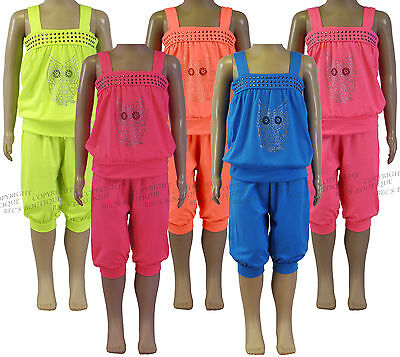 Girls Tops & Cropped Pants 2 Piece Owl Set Outfits Kids Clothes Ages 2-12 Years