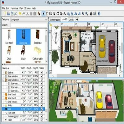 Sweet Home 3D (Home Interior Design CAD Software Suite) CD for Windows and Mac