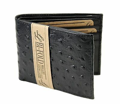 New Mens Ostrich Bifold Genuine Leather Wallet Pockets Card ID Black Slim Thin