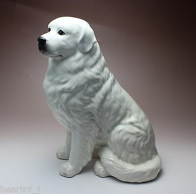 "11""H Sitting Great Pyrenees Solid White Porcelain Dog Figurine New Japan"