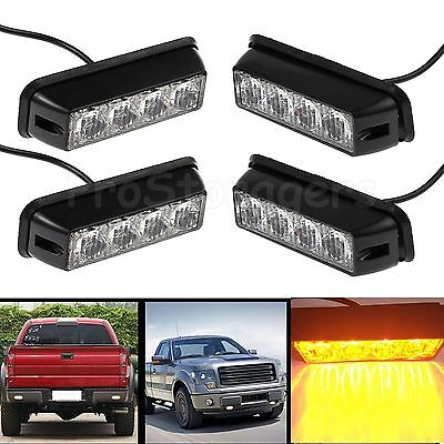 4X 4 LED Amber Flashing Recovery Strobe Car Truck Bright Lights Breakdown Lamps