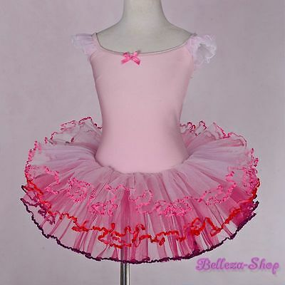 Pink Girl Frill Sleeves Ballet Tutu Dance Costume Fairy Dress Size 3T-4T BA049
