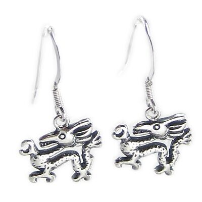 Chinese Dragons sterling silver hook earrings .925 x1 pair drops CI300292--HOOKS
