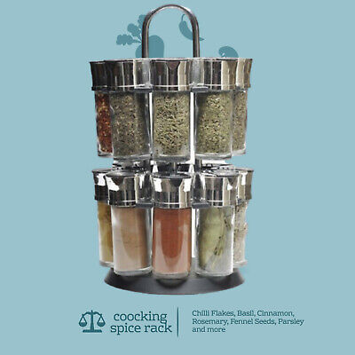 Revolving Spice Rack Storage Stand 12 Spices Herbs With Chrome Holder