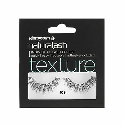 Salon System Naturalash 109 Black (texture) Adhesive Included False Strip Lashes