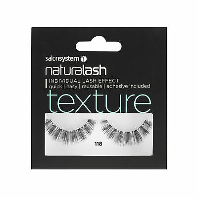 Salon System Naturalash 118 Black (texture) Adhesive Included False Strip Lashes