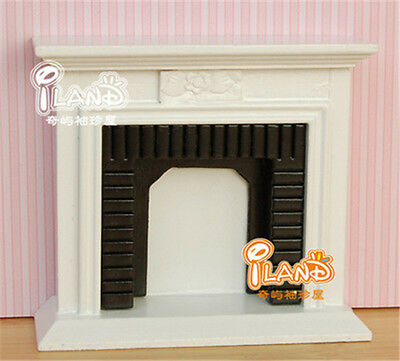 1:12 Dollhouse Miniature Exquisite white fireplace