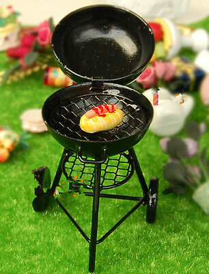 1:12 Dollhouse Miniature Outdoor barbecue grill trolley round