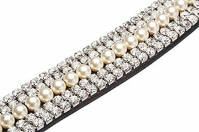 Caldene  Curved 5 Row Diamante and Pearl Browband CD4761