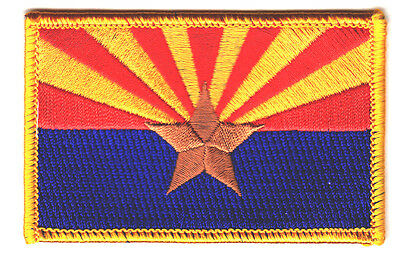 ARIZONA STATE FLAG w/GOLD BORDER - Iron On Embroidered Patch /Flag of Arizona