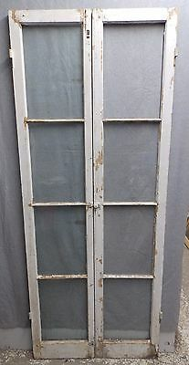 Antique Pair Side Lights French Doors Windows Old Vtg Shabby Cottage Chic 210-16