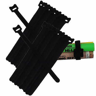 NEW 20PCS 20CM Cable Cord Ties Straps Wrap Hook And Loop Black Portable Fastener