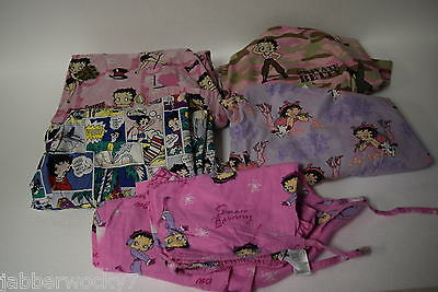 Lot of 5 Betty Boop Nurses Medical Uniform Scrubs - 4 Tops & 1 Bottom