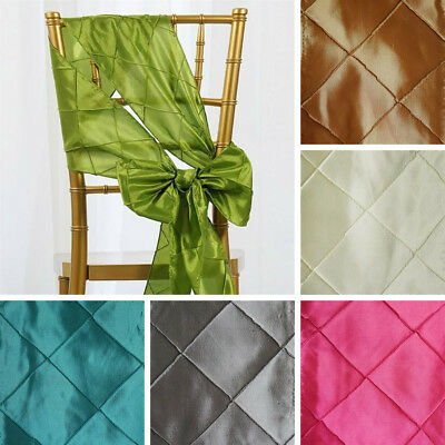 200 x Wholesale PINTUCK TAFFETA CHAIR SASHES Ties Bows Wedding Party Decorations